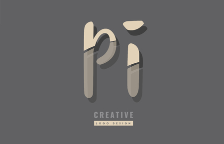Letters P and I icon design Illustration
