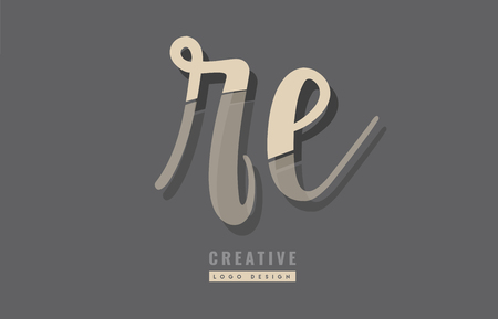 Design of alphabet letter combination re logo suitable as an icon for a company or business Illustration