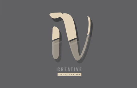 Design of alphabet letter combination iv i v suitable as an icon for a company or business