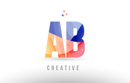 orange blue alphabet letter ab a b logo combination design with dots suitable for a company or business