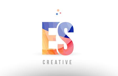 orange blue alphabet letter es e s logo combination design with dots suitable for a company or business
