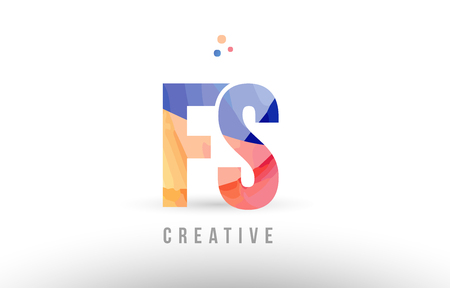 orange blue alphabet letter fs f s logo combination design with dots suitable for a company or business