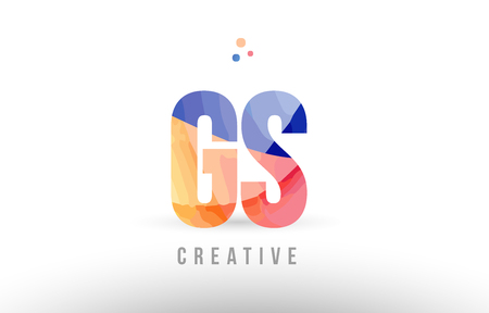 orange blue alphabet letter gs g s logo combination design with dots suitable for a company or business