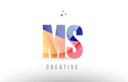 orange blue alphabet letter ms m s logo combination design with dots suitable for a company or business