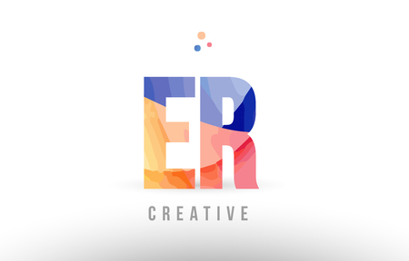orange blue alphabet letter er e r logo combination design with dots suitable for a company or business
