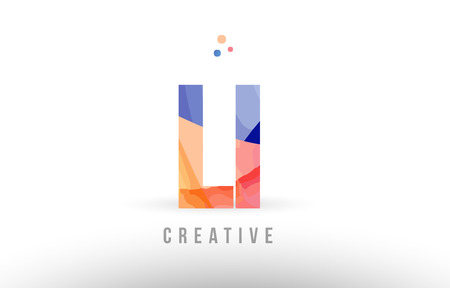 orange blue alphabet letter li l i logo combination design with dots suitable for a company or business