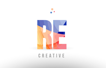 orange blue alphabet letter re r e logo combination design with dots suitable for a company or business