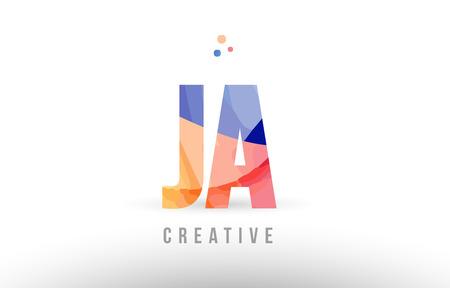 orange blue alphabet letter ja j a logo combination design with dots suitable for a company or business