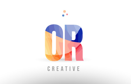 orange blue alphabet letter or o r logo combination design with dots suitable for a company or business