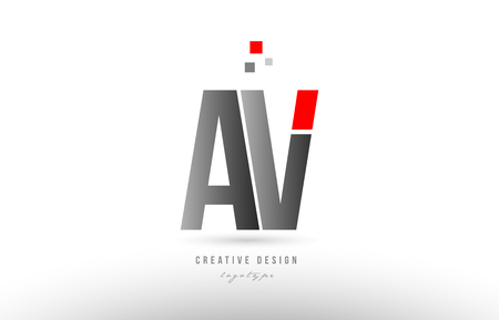 red grey alphabet letter av a v logo combination design suitable for a company or business Illustration