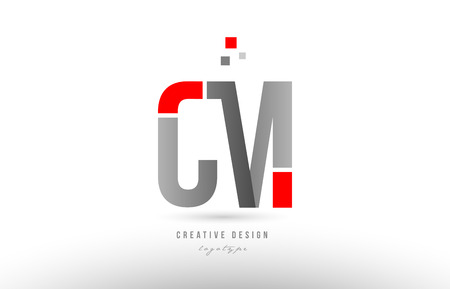 red grey alphabet letter cm c m logo combination design suitable for a company or business