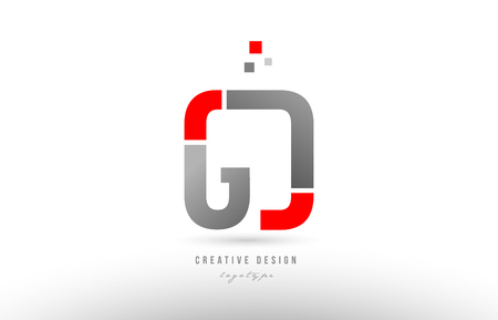 red grey alphabet letter gd g d logo combination design suitable for a company or business Illustration