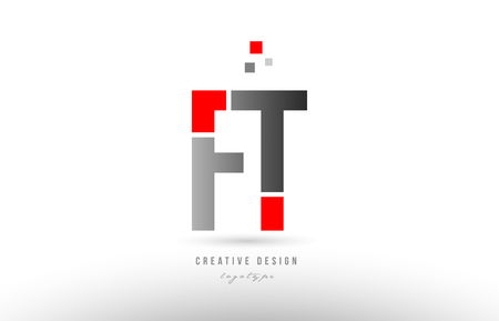 red grey alphabet letter ft f t logo combination design suitable for a company or business