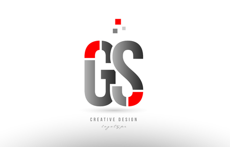 red grey alphabet letter gs g s logo combination design suitable for a company or business