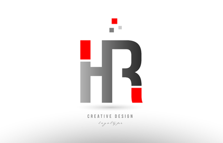 red grey alphabet letter hr h r logo combination design suitable for a company or business