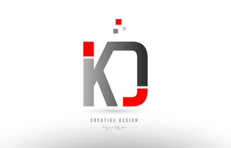red grey alphabet letter kd k d logo combination design suitable for a company or business Logó