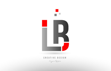 red grey alphabet letter lb l b logo combination design suitable for a company or business
