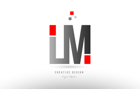 red grey alphabet letter lm l m logo combination design suitable for a company or business Çizim