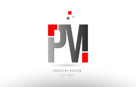 red grey alphabet letter pm p m logo combination design suitable for a company or business