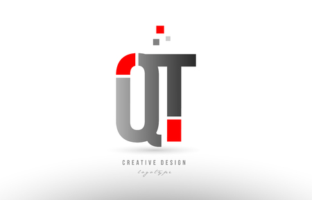 red grey alphabet letter qt q t logo combination design suitable for a company or business 矢量图像
