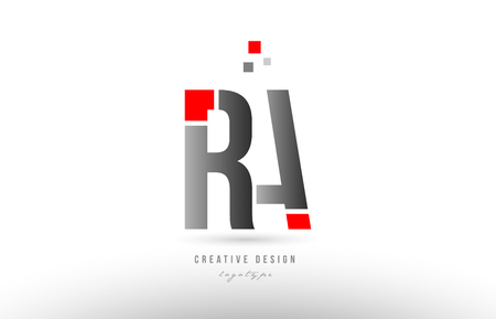 red grey alphabet letter ra r a logo combination design suitable for a company or business