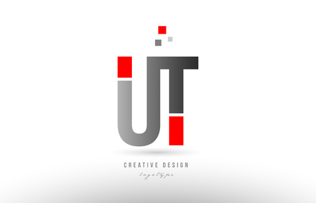 red grey alphabet letter ut u t logo combination design suitable for a company or business