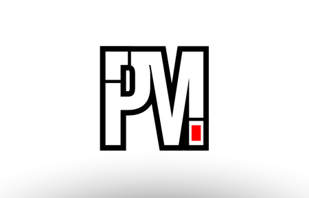 black and white alphabet letter pm p m logo combination design suitable for a company or business  イラスト・ベクター素材