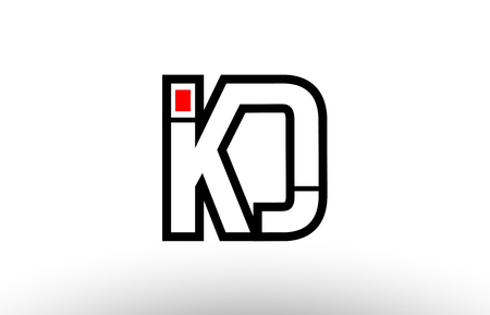 black and white alphabet letter kd k d logo combination design suitable for a company or business Logó