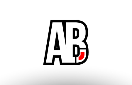 black and white alphabet letter ab a b logo combination design suitable for a company or business