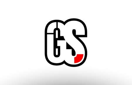 black and white alphabet letter gs g s logo combination design suitable for a company or business