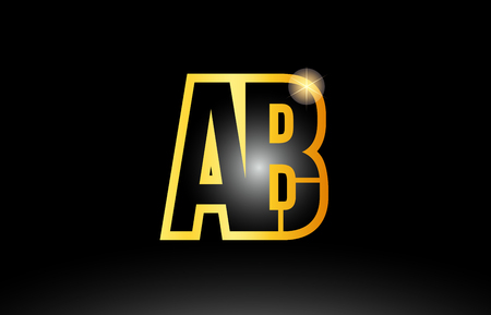 gold black alphabet letter ab a b logo combination design suitable for a company or business