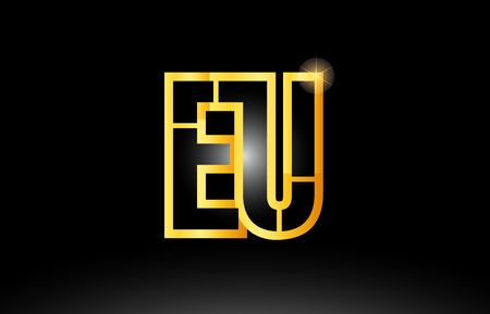gold black alphabet letter eu e u logo combination design suitable for a company or business Stock fotó - 99652073