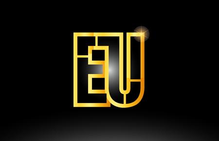gold black alphabet letter eu e u logo combination design suitable for a company or business Illustration