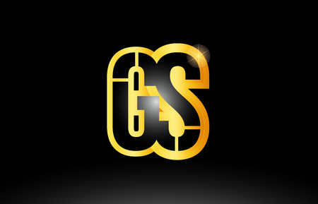 gold black alphabet letter gs g s logo combination design suitable for a company or business