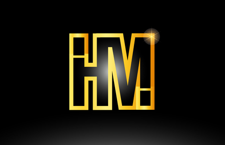 gold black alphabet letter hm h m logo combination design suitable for a company or business
