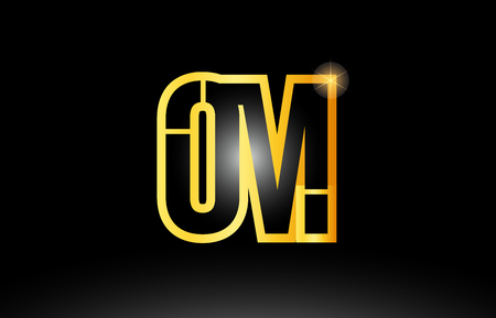 gold black alphabet letter om o m logo combination design suitable for a company or business