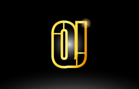 gold black alphabet letter oj o j logo combination design suitable for a company or business