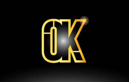 gold black alphabet letter ok o k logo combination design suitable for a company or business