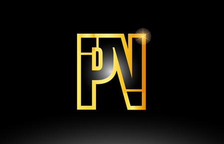 gold black alphabet letter pn p n logo combination design suitable for a company or business Çizim