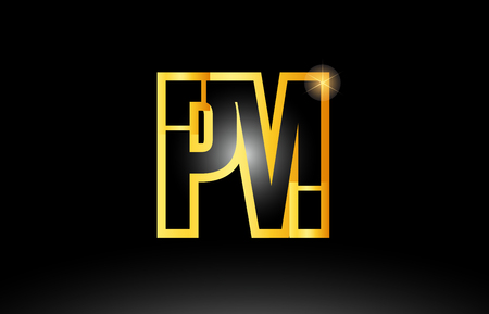 gold black alphabet letter pm p m logo combination design suitable for a company or business  イラスト・ベクター素材