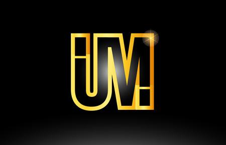 gold black alphabet letter um u m logo combination design suitable for a company or business Logo