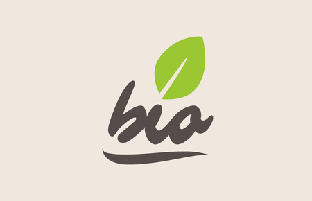Bio word or text with green leaf. Handwritten lettering suitable for label, badge, sticker or icon. Illusztráció