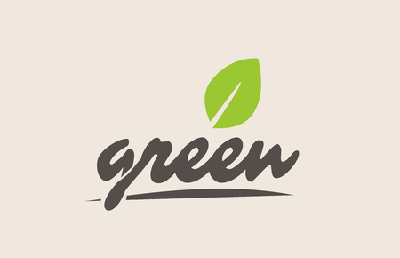 green word or text with green leaf. Handwritten lettering suitable for label, logo, badge, sticker or icon