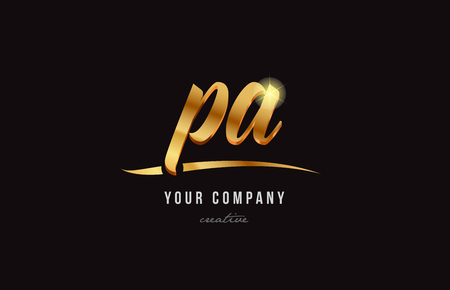 Gold golden alphabet letter p, a icon combination design suitable for a company or business. Stock Illustratie