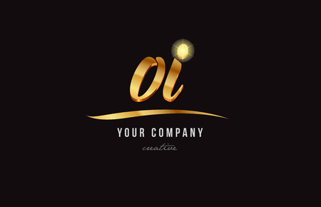 Gold golden alphabet letter o, i icon combination design suitable for a company or business.