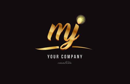 gold golden alphabet letter my m y logo combination design suitable for a company or business Çizim