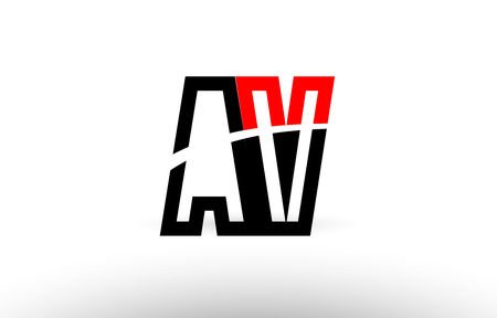 black white and red alphabet letter av a v logo combination design suitable for a company or business