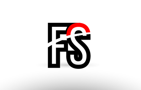 black white and red alphabet letter fs f s logo combination design suitable for a company or business