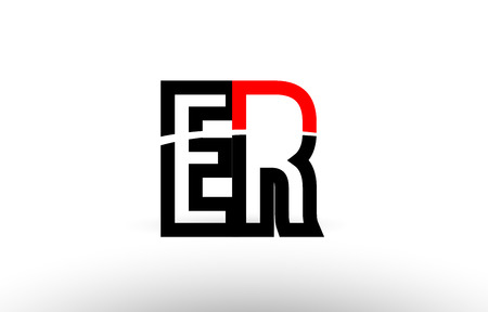 black white and red alphabet letter er e r logo combination design suitable for a company or business