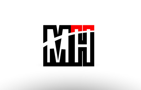 black white and red alphabet letter mh m h logo combination design suitable for a company or business